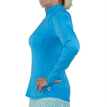 Jofit Key West Long Sleeve Mock Neck 1/4 Zip Shirt Womens Blue Lagoon UT232 BLL