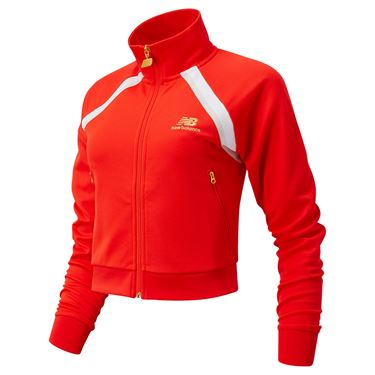 New Balance Athletics Podium Track Jacket Womens Neo Flame WJ03503 NEF