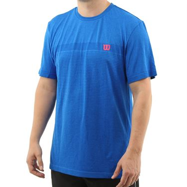 Wilson 2019 US Open Competition Seamless Crew Shirt Mens Brilliant Blue WRA773501
