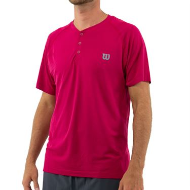 Wilson 2019 US Open Competition Seamless Henley Shirt Mens Granita WRA773702