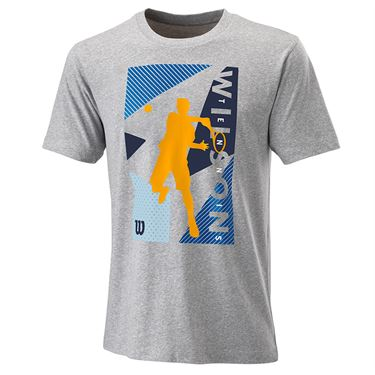 Wilson Geo Play Tech Tee Mens Heather Grey WRA779502