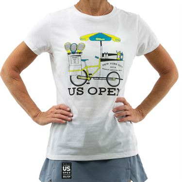 Wilson 2019 US Open Bike Tee Shirt Womens White WRAX025WH
