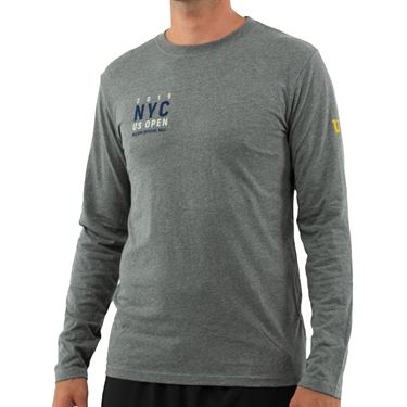 Wilson 2019 US Open Bridge Long Sleeve Tee Shirt Mens Grey WRAX030CH