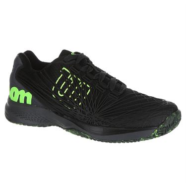 Wilson Kaos 2.0 Junior Tennis Shoe - Black/Ebony/Green Gecko