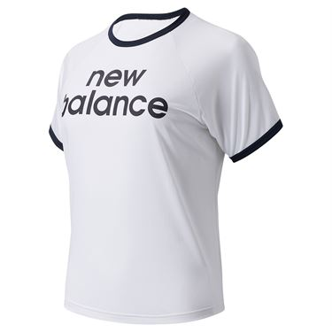 New Balance Achiever Graphic Boxy Tee Shirt Womens White WT03175 WT