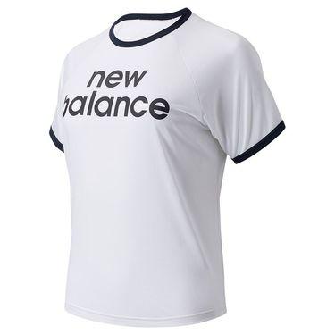 New Balance Achiever Graphic Boxy Tee Shirt Womens White WT03175 WT