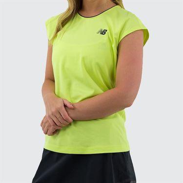 New Balance Rally Cap Sleeve Top Womens Lemon Slush WT93443 LS2