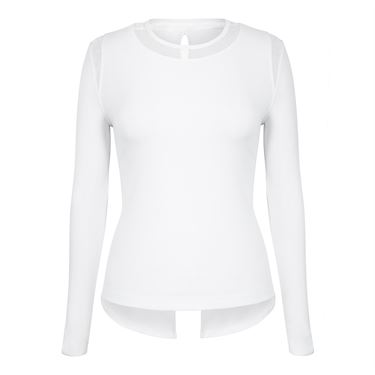 Tail Core Crew Neck Long Sleeve Top - White