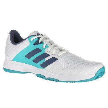 adidas Barricade Court Womens Tennis Shoe - White/Ink/Aqua