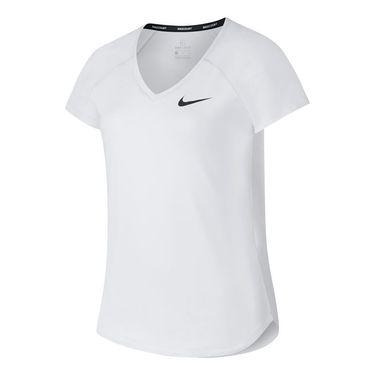 Nike Girls Court Pure Tennis Top - White/Black