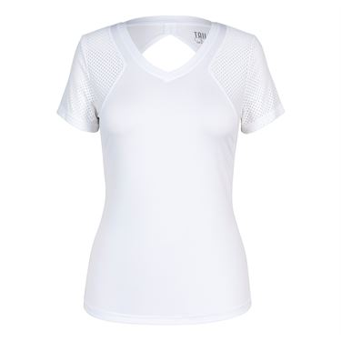 Tail Core V Neck Short Sleeve Top - White