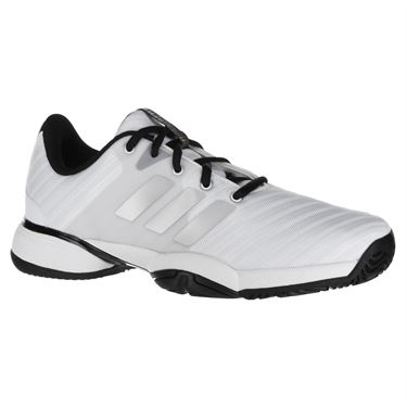 adidas Junior Barricade 2018 XJ Tennis Shoe - White/Silver/Black