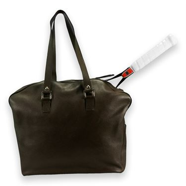 Cortiglia Belvedere Chocolate Pebble Leather Tennis Bag