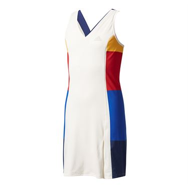 adidas Girls NY Dress - White/Dark Blue
