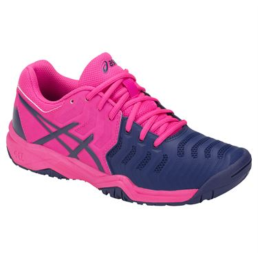Asics Gel Resolution 7 GS Junior Tennis Shoe - Pink Glo/Blue Print