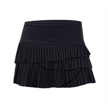 Lucky in Love Pindot Pleated Scallop Skirt - Black