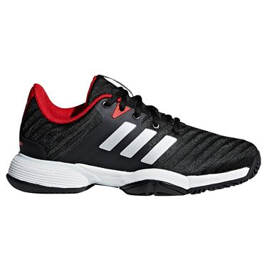 adidas Barricade 2018 Junior Tennis Shoe - Core Black/Matte Silver/Scarlet