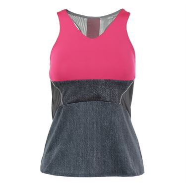 Lucky in Love In the Fast Lane Colorblock Tunic Tank - Black Denim/Raspberry