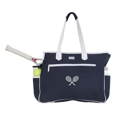 Ame and Lulu Kensington Crossed Racquet Court Bag - Navy/White