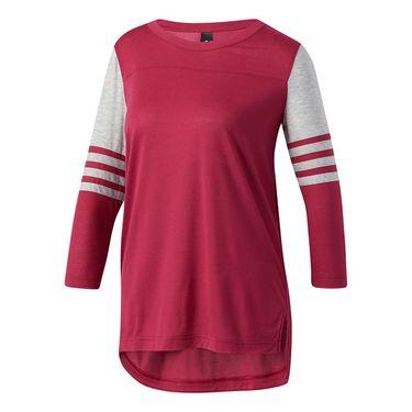 adidas Long Sleeve 3S Block Tee - Ruby/Medium Grey Heather