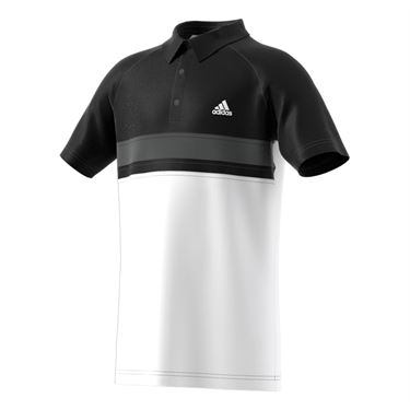 adidas Boys Club Color Block Polo - White