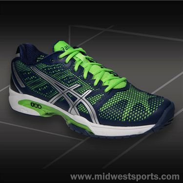 Asics Gel Solution Speed 2 Mens Tennis Shoe-Navy/Silver/Neon Green