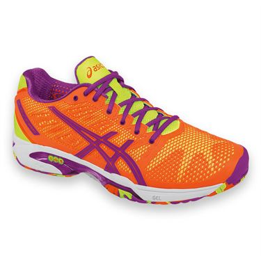 Asics Gel Solution Speed 2 Womens Tennis Shoe-Bright Orange/Lavender/Bright Yellow