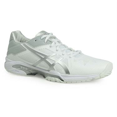 Asics Gel Solution Speed 3 Clay Womens Tennis Shoe - White/Silver