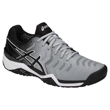 Asics Gel Resolution 7 Mens Tennis Shoe - Mid Grey/Black/White
