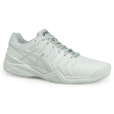 Asics Gel Resolution 7 Clay Mens Tennis Shoe - White/Silver