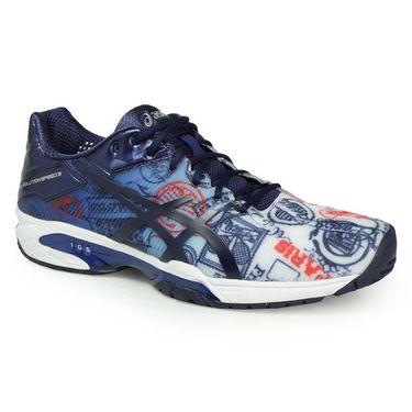 Asics Gel Solution Speed 3 L.E Paris Blue Mens Tennis Shoes E711N 4549