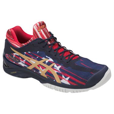 Asics Court FF LE NYC Mens Tennis Shoe - Indigo Blue/Gold/Red