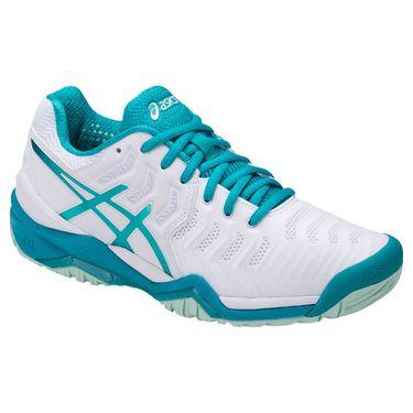 Asics Gel Resolution 7 Womens Tennis Shoe - White/Arctic Aqua/Glacier