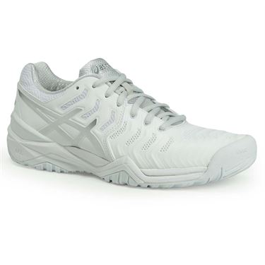 Asics Gel Resolution 7 Womens Tennis Shoe - White/Silver