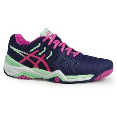Asics Gel Resolution 7 Womens Tennis Shoe - Indigo Blue/Pink Glow/Paradise Green