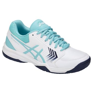 Asics Gel Dedicate 5 Womens Tennis Shoe - White/Porcelain Blue/Indigo Blue