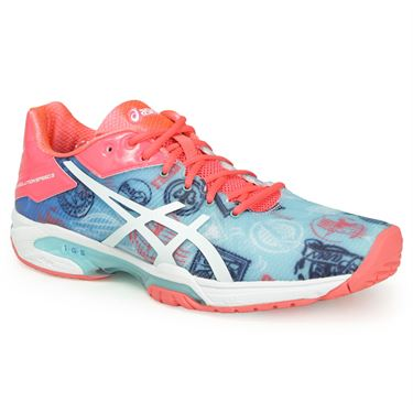 Asics Gel Solution Speed 3 L.E. Paris Blue Pink Womens Tennis Shoes E761N 4301