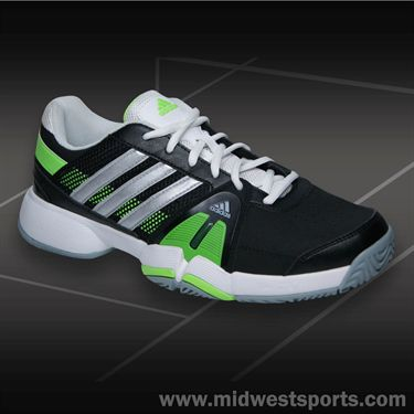 adidas Barricade Team 3 Mens Tennis Shoe-Black/Silver/Green