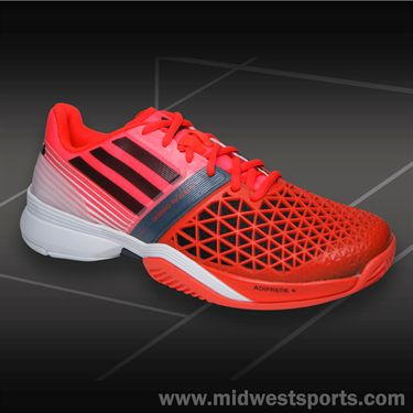 adidas CC adizero Feather III Mens Tennis Shoe-Red/Black/White