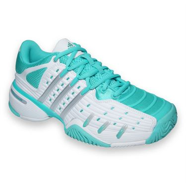 adidas Barricade V Classic Womens Tennis Shoes-White/Silver/Mint