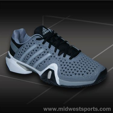adidas Barricade 8+ Mens Tennis Shoe-Grey/Silver/Black