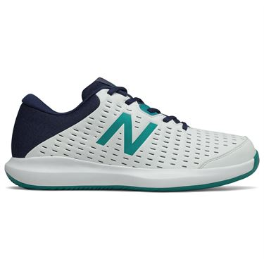 New Balance 696v4 (D) Mens Tennis Shoe - White/Navy/Teal