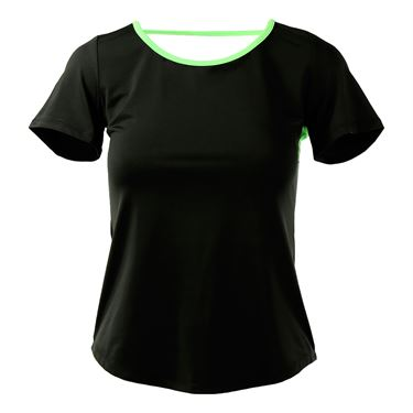 Adedge Open Back Cap Sleeve Top - Black/Lime Green