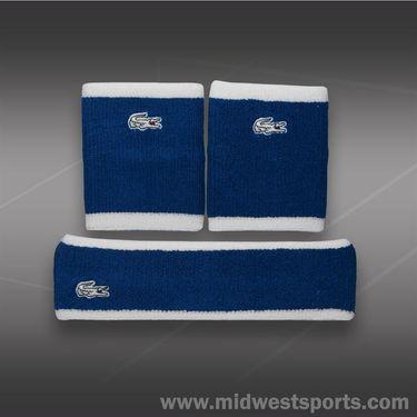 Lacoste Wristband/Headband Set-Blue/White