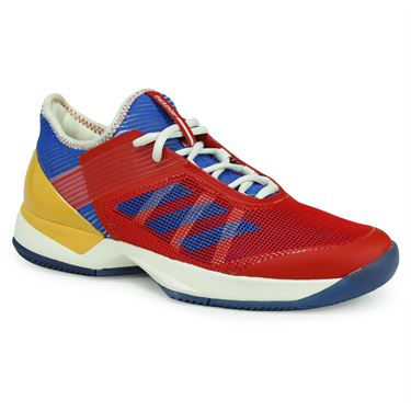 adidas adiZero Ubersonic 3 Womens Tennis Shoe - White/Blue/Gold