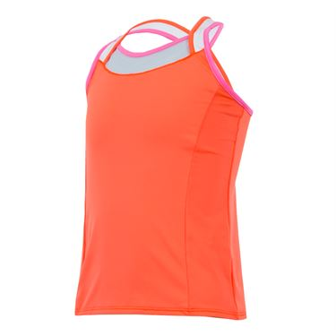 Lucky in Love Wild At Heart Girls Cover Up Tank - Orange Glow