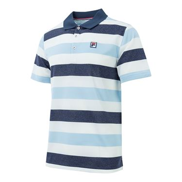 Fila Heritage Striped Polo - Navy/Angel Falls/White