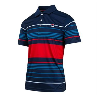 Fila Heritage Striped Polo - Navy/Chinese Red/Turkish Tile/White