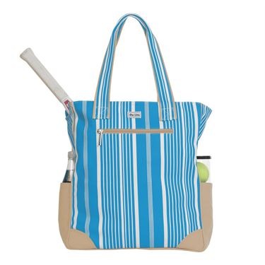 Ame and Lulu Emerson Tennis Tote - Ticking Stripe Print
