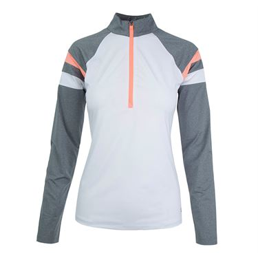 Fila Game Day 1/2 Zip Top - White/Charcoal Heather/Fiery Coral